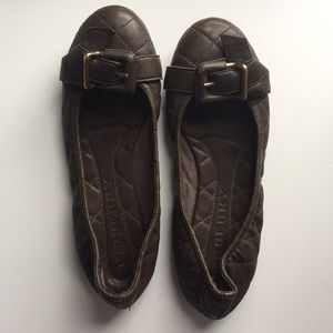 Burberry Brown Leather Shoes Flats Brown 38.5 8.5